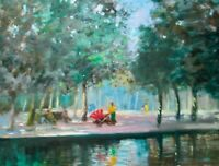 """Listed Nino Pippa Original Impressionist Oil Painting London Hyde Park 18"""" X24"""""""