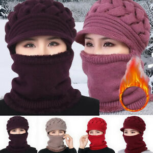 Winter Women Ladies Wooly Thick knitted Woollen UK Knit Hat And Scarf Set