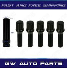 5 PCs Black M14x1.5 Spline Drive Conical Seat Lug Bolts 24mm With Key
