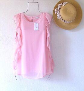 New~$88~Pink Rose Blush Blouse Shirt Shell Tank Ruffle Boho Top~Size Large L