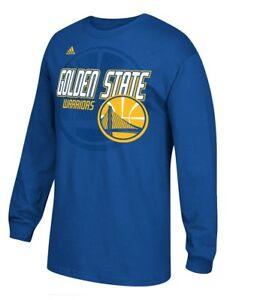 Golden State Warriors Adidas Distressed Back Logo Men's Long Sleeve Blue T-Shirt
