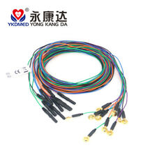 Colorful EEG cable, Gold plated eeg cup electrode, DIN1.5 socket, 10pcs/set YKD
