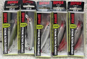 """(5) Rapala XR-8 X-Rap Jerkbait 3-1/8"""" 1/4oz Dives 3-5' Good Colors D77"""