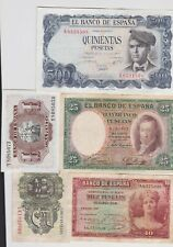 More details for eight spanish banknotes in a used fine to extremely fine condition