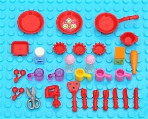 LEGO FRIENDS KITCHEN UTENSIL ACCESSORIES FORKS KNIVES PLATES MUGS CAKES JOB LOT