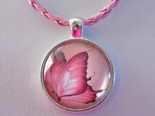 Silver Plated Butterfly Cabochon Pendant Pink Breaded Faux Leather Necklace