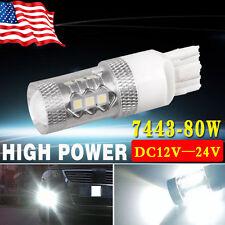 1X 6000K White High Power 80W 7443 7440 Tail Brake Backup Reverse LED Bulb Light