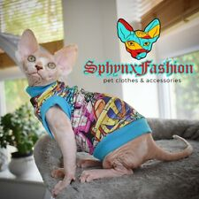 NEW LARGE LONG Sphynx TOP T-shirt Vest Devon Peterbald Pet clothes MANY DESIGNS