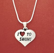 I Love to Swim Necklace swimmer swimming charm pendant and chain