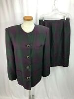 Le Suit Women's Purple Green Houndstooth Skirt Suit 16