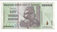 50 Trillion Zimbabwe Dollars Circulated,XF. P90. [5 10 20 100] BILLION. MILLION.