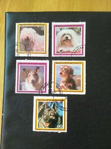 PART SET OF5 USED STAMPS OF DOGS OF PEPUBLICA DE GUINEA ECUTORIAL MULTICOLOURED.