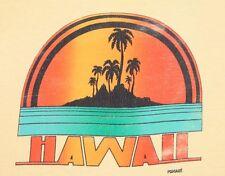 S * vtg 70s/80s HAWAII tourist t shirt * 17.125 pomare sunset beach palm tree