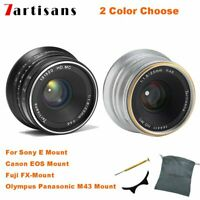 7Artisans 25MM F1.8 mirrorless camera Manual Fixed Lens f EOS-M FUJI FX SONY M43