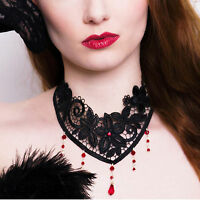 RUBY RED steampunk victorian gothic choker necklace goth sexy lace wedding