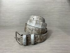 Size 38 White Crocodile / Alligator Skin Handmade Belt