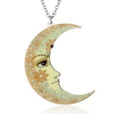 New Handnade Printing Sweater Chain Moon Pendant Necklace Women Costume Jewelry