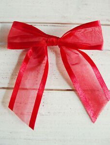 1 Red Pretied Organza Bows w Twist Ties Christmas Easter Holiday Crafts Gifts