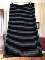 LRL Lauren Jeans Co. Ralph Lauren maxi A-line skirt blue white striped stretch