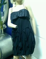 Vintage 60's Silk Tiered Black Cocktail Dress with Big Bow Small