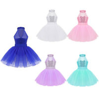 Girl Kid Ballet Mesh Tutu Dance Dress Ballerina Leotard Sequins Halter Dancewear