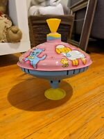 Vintage LBZ Tin Spinning Top Pink Blue Yellow Animals Toys Collectables