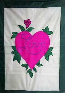 "Love Heart Standard Applique House Flag by CBK, 28"" x 40"""