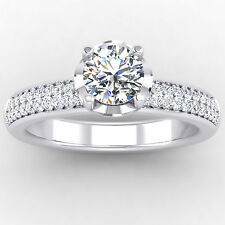 Fine White Gold 0.86CT Round Cut Moissanite Diamond Rings Engagement Ring Size K