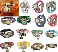 Damen Vintage Geflochten Lederarmband Armbanduhr Quarz Watch Schmetterling Neu