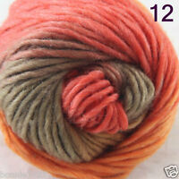 Sale 1Skein x 50gr NEW Hand Knitting Yarn Chunky Colorful Wool scarves shawls 12