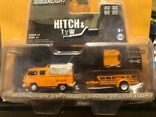 1/64 GREENLIGHT HITCH & TOW 1978 VOLKSWAGEN TYPE 2 DOUBLE CAB & UTILITY TRAILER