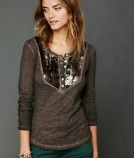 Free People Tiger Eyes Sequin Lady of the Canyon Henley Shirt Top Boho S Small