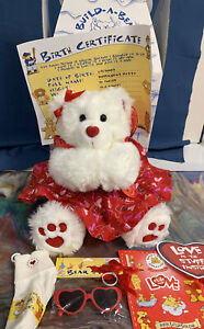 Build-A-Bear ~ VALENTINE BEAR (Peppermint Patty) Magnetic Hands/Face - NEW W/TAG