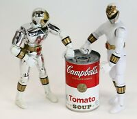 """Lot of 2 Bandai 1995 Mighty Morphin Power Rangers White & Silver 5.5"""" Figures"""