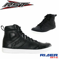 RST URBAN II LEATHER CE BOOTS SNEAKERS BLACK REINFORCED EN13634 MOTORCYCLE ANKLE