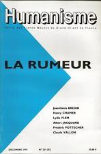 HUMANISME N° 201-202 : LA RUMEUR - GRAND ORIENT DE FRANCE - FRANC MACONNERIE