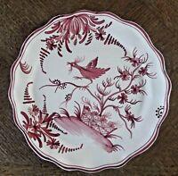 Ancienne Assiette faïence vieux Nevers ton rouge décor d'oiseaux