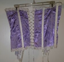 SEXY Satin Corset from Shirley of Hollywood-8997 purple white 36