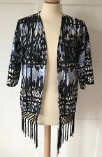 ONLY, Blue Black Printed Kimono Cover Up With Tassles, Size 8, NEVER WORN