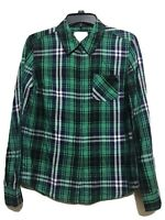 Arizona Womens Juniors Shirt Top Sz M Plaid Green Blue Long Sleeve 100% Cotton