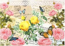 CIALDE di riso per decoupage Decopatch Scrapbook craft Sheet Colorful Rose su cartoncini