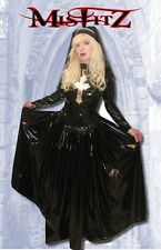 Misfitz black and silver pvc gothic nun ballgown + headdress size 20 goth