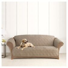 SureFit Microfiber Sofa Pet Throw/Slipcover with Arms, Sable Non slip Sable
