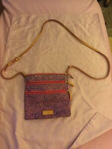 Dooney &  Bourke Iconic Pink and Purple Design Triple Zip Small Crossbody Bag