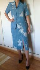Tailleur jupe UN JOUR AILLEURS BLEU motif fleurs 100% polyester Taille 42-44