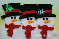 Felt Snowman. Pack of 3 Snowmen, Christmas Craft Embellishments