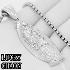 """Stainless Steel Silver Virgin Mary Pendant 30""""Round Box Chain/66g/E653"""