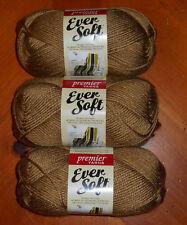 Premier Ever Soft Yarn Lot Of 3 Skeins (Tan #70-30) 3 oz.