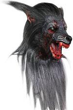 BRAND NEW Bloody Werewolf Moon Beast DELUXE ADULT LATEX BLACK WOLF MASK W/ HAIR