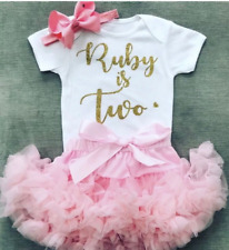 Luxurious Girls 2nd Second Birthday Set Tutu Skirt Party Personalised Baby Pink